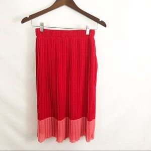Sabrina Diamonti red pleated skirt made in Italy S